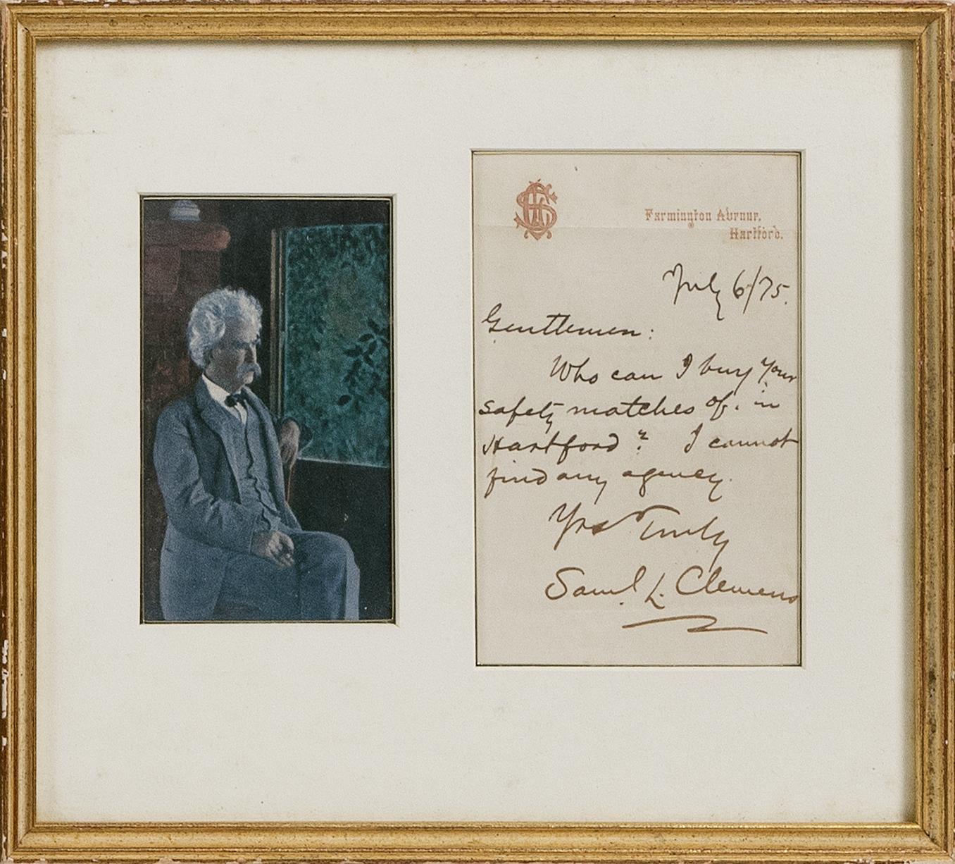 SAMUEL LANGHORNE CLEMENS (MARK TWAIN) ALS July 6th, 1875 Letter 9.5
